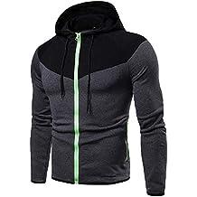 BBestseller Sweatshirts Hoodie Pullover para Hombre Otoño Color sólido Manga Larga Pullover Sudadera Capucha con Cremallera
