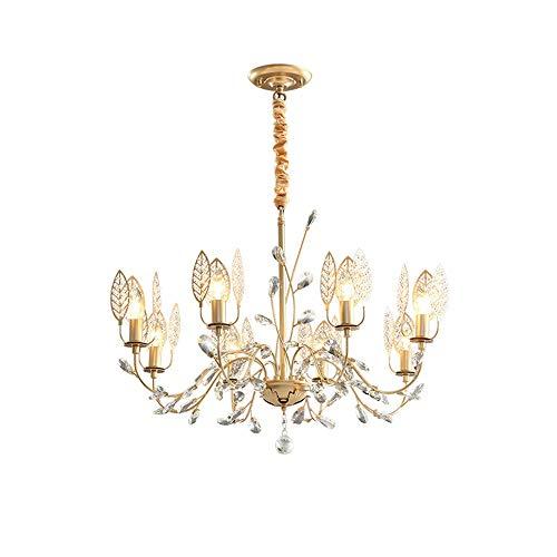 Gold Leaf 8 Licht (RJJ LED Luxus K9 Crystal Leaf Candle Deckenleuchte Gelb Warmes Licht Runde Kronleuchter Prinzessin Esszimmer Wohnzimmer Studie Schlafzimmer Einfache Moderne Eisenkreis Warm)