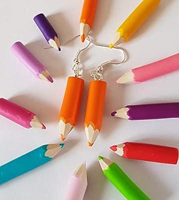 boucles d'oreilles crayon de couleur orange