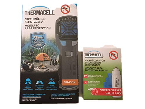 Thermacell Sorglos Paket 60 Stunden Mückenschutz im Set Handgerät grau mit Kippschalter MR450X und Nachfüllpack R-4 -