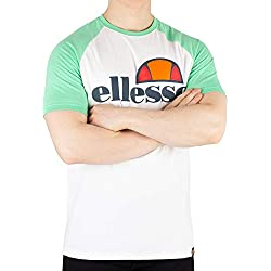 Ellesse Cassina T-Shirt Camiseta, Hombre, White/Green, S