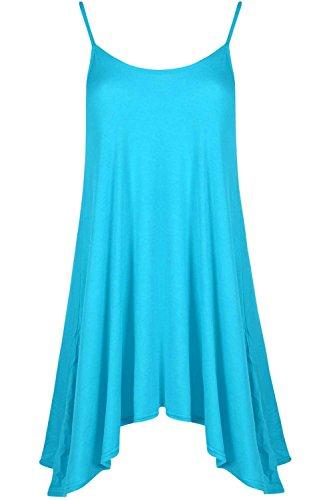 Be Jealous Damen Unterhemd Cami ausgestellt Skater Riemchen lang Swing Minikleid ärmelloses Top UK Übergröße 8-22 Türkis