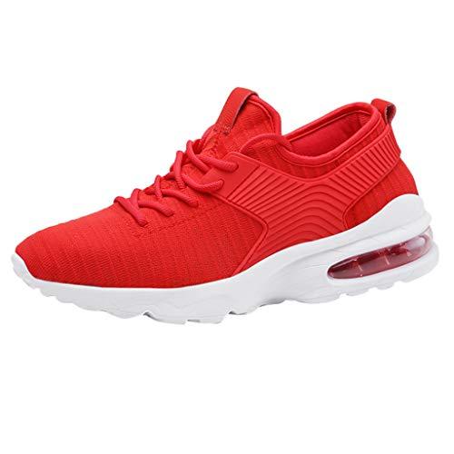 KIMODO® Sneakers Herren Leichte Netz Turnschuhe Gesponnene Sommer Atmungsaktiv Sportschuhe Laufende Schuhe (Rot, Größe 45) 6 Inch Stiletto Pumps