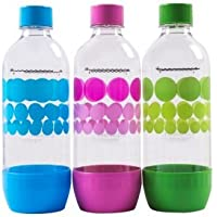 Original Sodastream Carbonating Bottle Three Pack 1 Liter / 3.38oz Lasts Up To 3 Years - New Design Launched 2015 by SodaStream