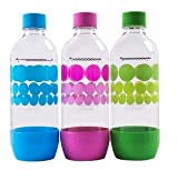 SodaStream 1 Liter x 3 Pack PET-Flaschen blau / grün / lila - neues design 2015