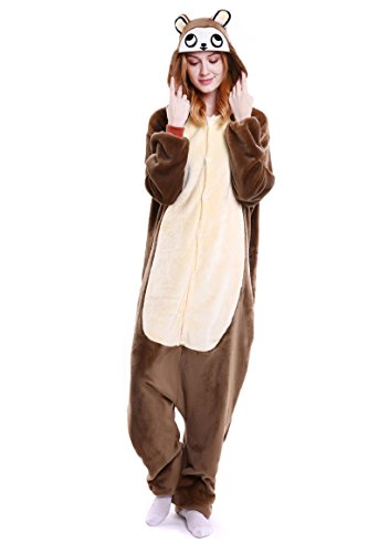 Imagen de tuopuda kigurumi pijamas unisexo adulto traje disfraz adulto animal pyjamas cosplay animales de vestuario ropa de dormir halloween y navidad s  147 157 cm height , oso marrón