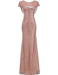 2317b96b65 Solovedress Mujer Sirena de Lentejuelas Largo Vestido de Noche Formal  Vestido de Baile de Fin de
