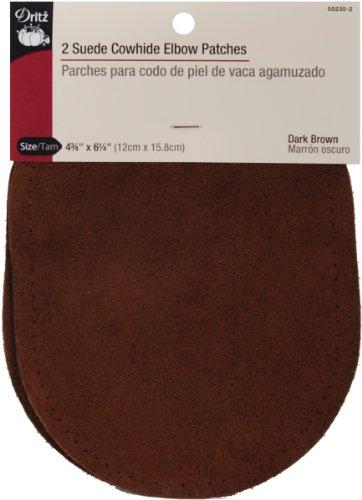 Dritz Wildleder Rindsleder Ellenbogen Patches 4–3/4-Zoll x 6–5/82/pkg-dark braun