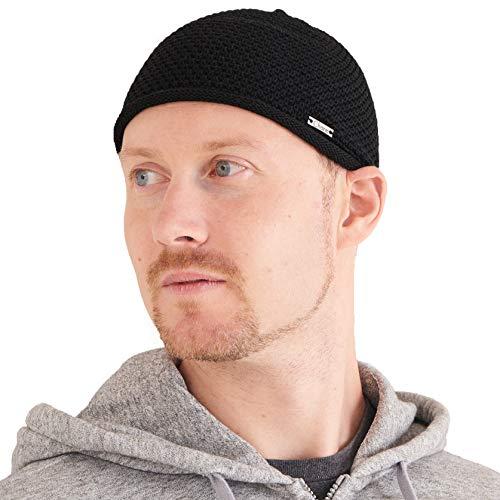 CHARM Herren Sommer Kufi Skull Cap - Baumwolle Mütze Muslim Prayer Beanie Hut Strickmütze Schwarz