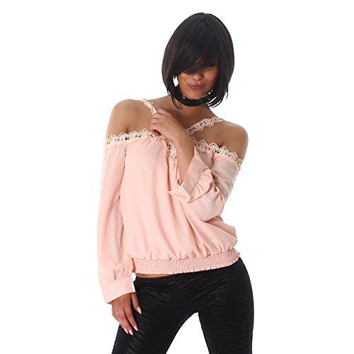 Voyelles Damen Shirt Bluse Blusenshirt Tunika Langarm Pulli Carmen-Ausschnitt Tunikabluse Träger Spitze Rosa