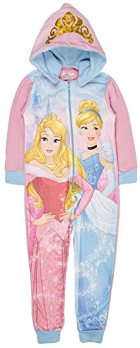 Disney princess ragazze in pile reversibile hood one piece sleepsuit pajamas set (8-9 anni)
