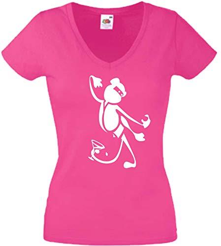 JINTORA T-Shirt - Chemise Femme Rose - V-Cou - Taille M - Ninja Monkey Drunken - JDM/La Coupe - pour la fête Carnaval Travail et Loisirs
