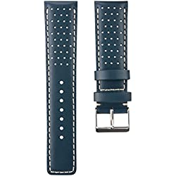 Perforated Sport D-1 Padded Leather Watch Strap in Ink Blue & Ivory Stitch 22mm