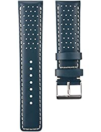 Correa del reloj Geckota cuero genuino Perforado Azul, Blanco, 22mm