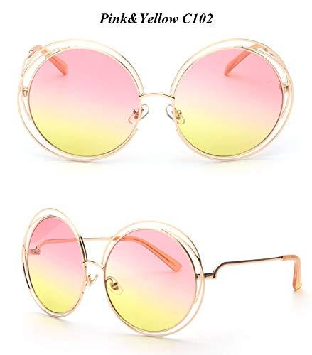 WDDYYBF Sonnenbrillen, Casual Comfort Runde Wire Frame Beschichtung Intage Fgrayion Sonnenbrille Frauen U 400 Rosa, Gelbe Linse