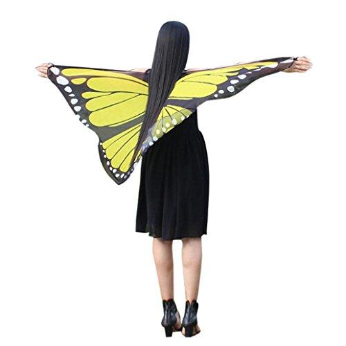 Disfraz Para Mujer/Niños, ❤️Xinantime Chal estampado de mariposa Bohemia para mujer Accesorio de vestuario de Pashmina 7 colores (❤️Amarillo)