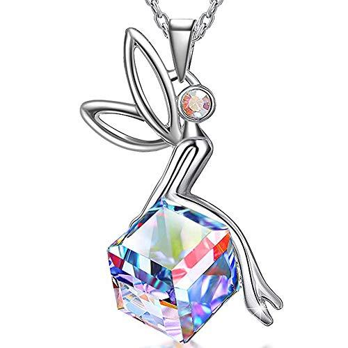 Thwjsh collana in argento 925 ciondolo angelo in argento 925 con ciondolo in argento 925-rainbowcolor