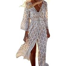 FEITONG Mujer Verano Boho Largo Noche Fiesta Vestido de coctail Vestido de playa Sundress (Caqui, S)