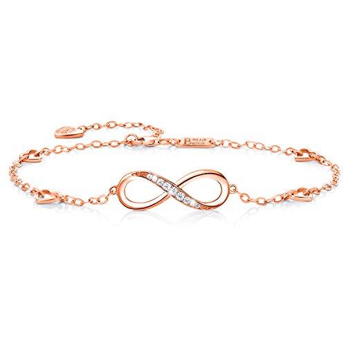 Billie Bijoux Infinity Unendlichkeit Symbol Damen Fußkettchen 925 Sterling Silber Zirkonia Armkette Verstellbar Charm Knöchel Armband (oro rosa)
