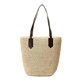 AIHOME Handtasche Strandtasche Schultertasche Rattan Tasche Henkeltasche Strohtasche mit Reißverschluss
