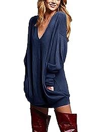ZANZEA Jerseys de Punto Mujer Largos Cuello V Manga Larga Otoño Vestidos Sudadera Casual Tallas Grandes Suéter Suelta