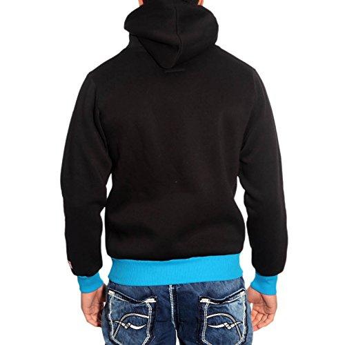 R-Neal -  Felpa  - Con cappuccio  - Maniche lunghe  - Uomo nero / turchese