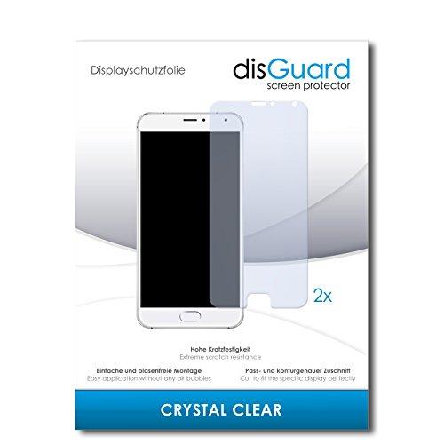 disGuard® Bildschirmschutzfolie [Crystal Clear] kompatibel mit Meizu Pro 5 [2 Stück] Kristallklar, Transparent, Unsichtbar, Extrem Kratzfest, Anti-Fingerabdruck - Panzerglas Folie, Schutzfolie