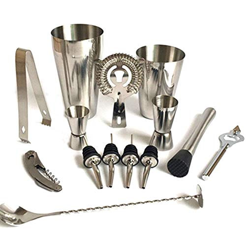 JAYLONG Cocktail Shaker Set, 13 Pieces Stainless Steel Bar Tool Set Bartender Kit Cocktail Gift Set mit Cocktail Tools Pack Necessary für Mixing Drinks,600ML