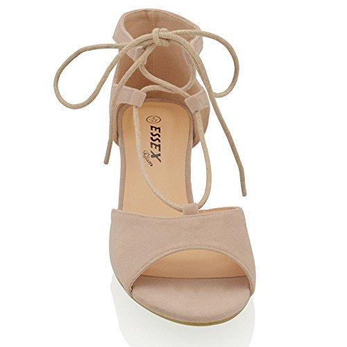 Essex Glam Damen Niedriger Blockabsatz Schnüren Riemchen Peep Toe Sandalen Hautfarbe Wildlederimitat