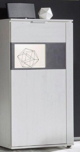 Dreams4Home Vitrine 'Curo I' - Schrank, Standvitrine, Glasvitrine, Aufbewahrung, Schrank, optional mit Beleuchtung, 1 Tür, 2 Einlegeböden, B/H/T: 68 x 120 x 37 cm, Wohnzimmer, Fernsehzimmer, modern, Pinie Weiss NB/Applikation Matera grau, Beleuchtung:ohne Beleuchtung