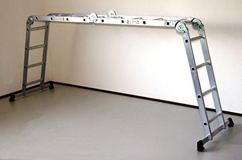 Alu-Gelenkleiter/Arbeitsleiter 4x4 Stufen/Sprossen ohne Plattform 460 cm, Aluminium, Marke: Szagato (Stehleiter, Anlegeleiter, Aluleiter, Kombileiter, Leiter)