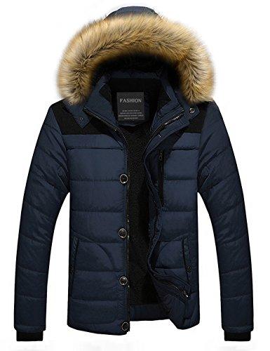 Menschwear Herren Winter Warme Jacke Daunenjacke Mantel Kurzmantel mit abnehmbarer Kapuze-Pelzkragenze Blau