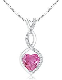 Floating Pink Sapphire Infinity Heart Pendant with Diamond Accents (5mm Pink Sapphire)