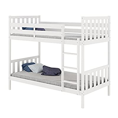 Bunk Bed, HST Mall 3ft Single Bunk Bed Wooden Frame in White for Children or Adults Bedroom Furniture produced by HST Mall - uk fast delivery