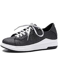 SHOWHOW Damen Cool Paillette Schnürsenkel Freizeitschuh Sneakers Weiß 36 EU