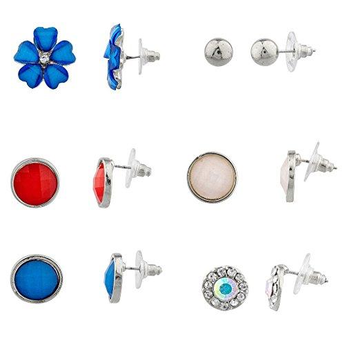 LUX Zubehör Silvertone Patriotische Floral Multi Ohrring-Set (6-teilig) (Patriotische Ohrringe)