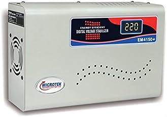 Microtek EM4150+ 150V-280V Digital Display Voltage Stabilizer (Grey)