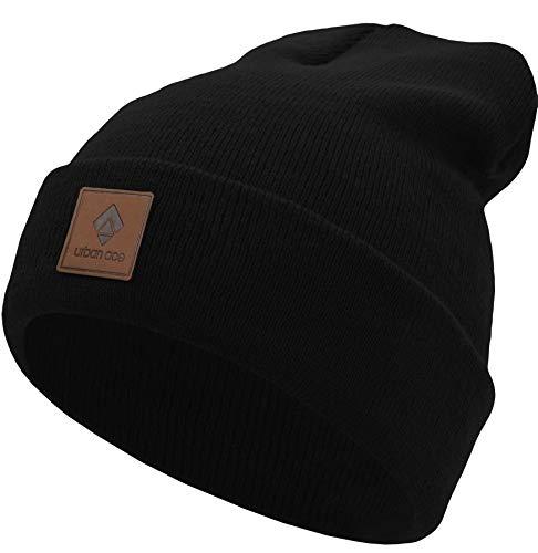 urban ace| Street Classics | Beanie, Mütze, mit Lederpatch | Damen, Herren | für das ganze Jahr, weicher Stoff (schwarz)