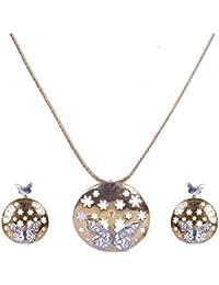 Pushti Gold Brass Pendant Set For Women (PF_008)