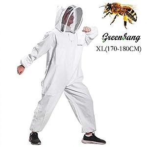 Greenbang Costume Apiculture, Super Épais Apicole Costume Pliable Escrime Voile Combinaison Bee Protection Costume Smock avec Fermeture Éclair Avant