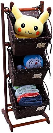 YATAI 3-Layers Woven Storage Basket Bin Free Standing Wooden Storage Rack Organizer – Storage Baskets – Kid's