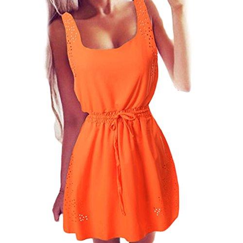 Frauen Mode Rundkragen ärmellos Taillenspitze Chiffon Kleid Freizeitkleid beachwear Minikleid Chiffonkleid Freizeitkleider Einfarbig Orange