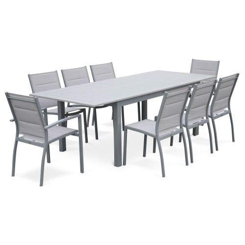 Salon de Jardin - Chicago Gris Clair - Table Extensible 175/245cm avec rallonge et 8 assises en textilène