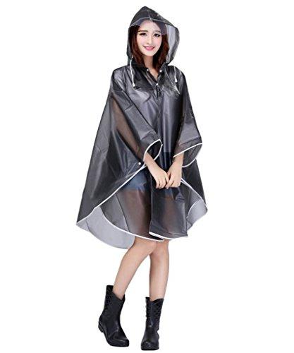 Damen EVA Transparent Wasserdichtes Regenmantel Regenponcho Regenumhang mit Kapuze Motorad Regenjacke Trenchcoat Parka Regenkleidung Raincoat Regencape