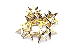 50 Pieces Star-Shaped Studs with Spikes - Gold Hand Pressed 10mm Nail Head Rivets - Suitable for Leather Crafting, Decorating Clothes, Jackets, Belts, Footwear, and Bags