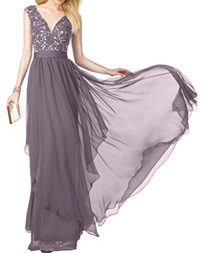 Sunvary Romantisch Neu V-Neck Spitze Lang Chiffon Traeger Abendmode Abendkleider Mutterkleider Silver