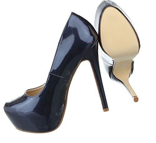 Damen Pumps Schuhe High Heels Stöckelschuhe Stiletto Plateau Blau Beige Schwarz Rot 35 36 37 38 39 40 Dunkelblau