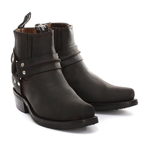 Unisex Stiefel Boots Echtleder Biker Stil Rock Punk Grinders Cowboy Design Braun