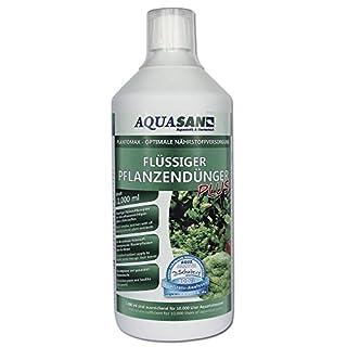 AQUASAN PlantoMax Flüssiger Pflanzendünger PLUS (GRATIS Lieferung innerhalb Deutschlands - Aquarien Pflanzen-Dünger mit allen wichtigen Nährstoffen für einen sattgrünen Pflanzenwuchs im Aquarium), Inhalt:1 Liter