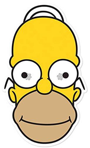 The Simpsons Homer - Maske Papp Maske, aus hochwertigem Glanzkarton mit Augenlöchern, Gummiband - Grösse ca. 30x20 (Homer Maske)